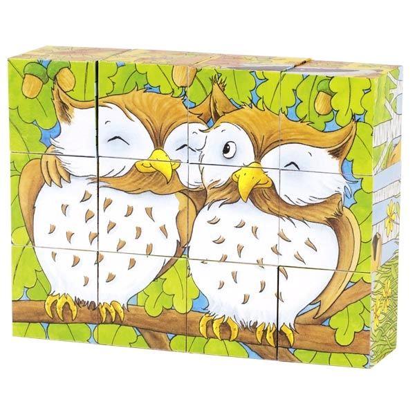 Goki Würfelpuzzle Waldtiere 12tlg. Teile aus Holz