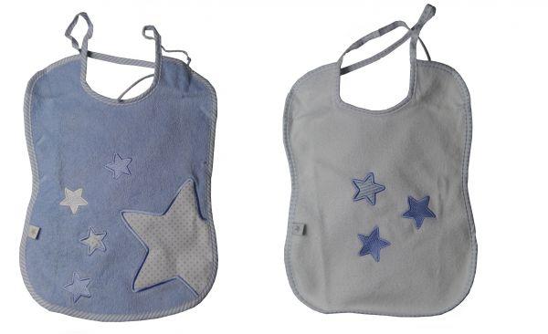 fashy little stars Lätzchen 2 Stk. blau / weiss mit Sternen
