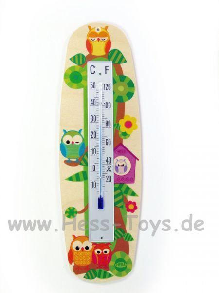 Hess Thermometer Eule aus Birkenleimholz