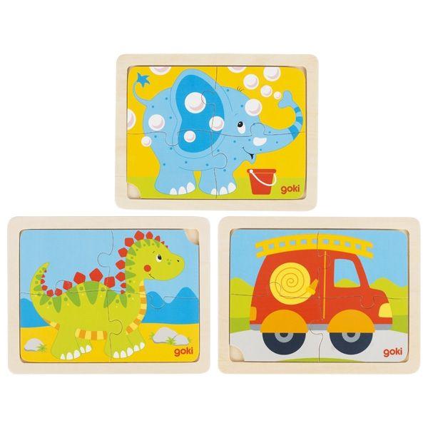 Goki Einlegepuzzle Dino, Feuerwehr und Elefant 4tlg.