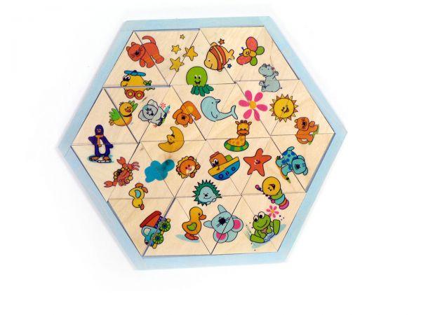 Hess Legespiel Mosaiklegespiel Tiere 24 Teile aus Holz