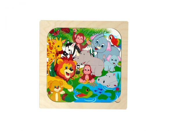 Hess Puzzle Dschungeltiere aus Holz 16 Teile