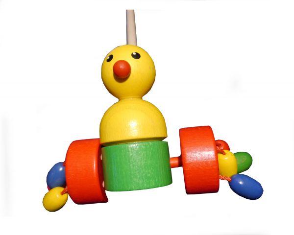Hess Schiebe-Ente mit Klapperrädern aus Holz - Länge 55,5cm