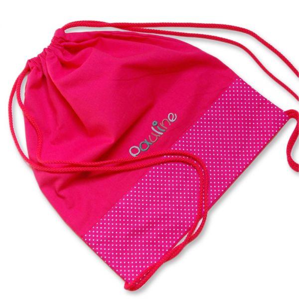 Turnbeutel Punkte pink mit Namen - Personalisierter Sportbeutel für Mädchen