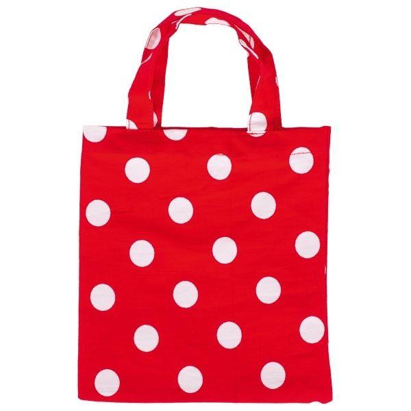 Goki Kleine Baumwolltasche 13,5 x 14,5cm rot mit weißen Punkten