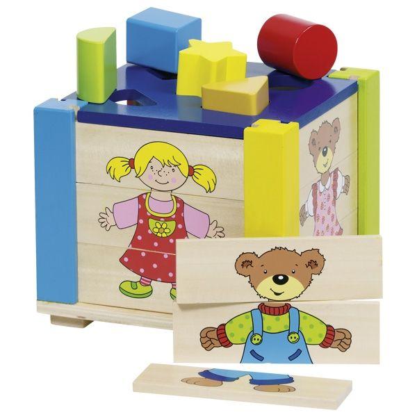 Goki Große Puzzle- und Formenkiste, Sortierbox, Steckbox 19tlg. aus Holz 58902