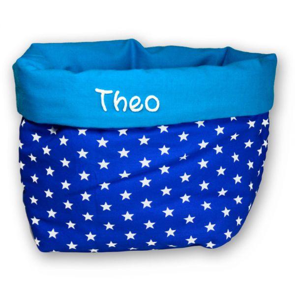 Wickelkörbchen mit Namen - Stoffkörbchen Sterne blau