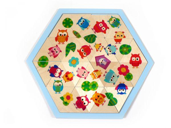 Hess Legespiel Mosaiklegespiel Eulen 24 Teile aus Holz