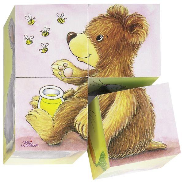 Goki Würfelpuzzle Tierkinder 4tlg. Teile aus Holz