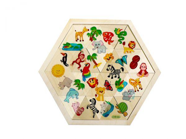 Hess Legespiel Mosaiklegespiel Dschungeltiere 24 Teile aus Holz