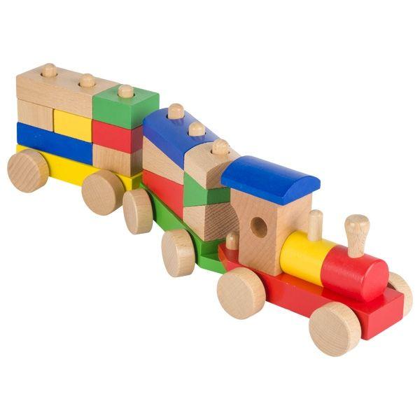 Goki Zug Rom mit Steckbausteinen 16tlg. aus Holz