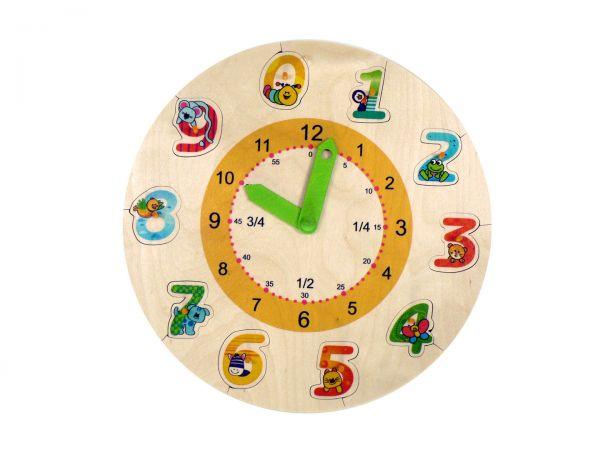 Hess Lernuhr mit Puzzle-Zahlen aus Holz Ø 29cm