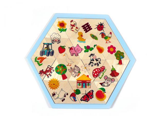 Hess Legespiel Mosaiklegespiel Bauernhof 24 Teile aus Holz