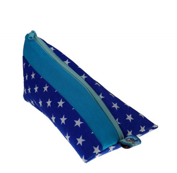 Federmäppchen Sterne blau mit Namen - Geschenk zum Schulanfang