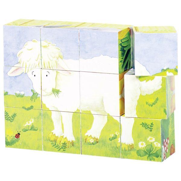 Goki Würfelpuzzle Tierkinder 12tlg. Teile aus Holz