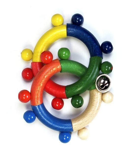 Hess Greifling mit 2 Ringe u. Glöckchen aus Holz mit Rassel