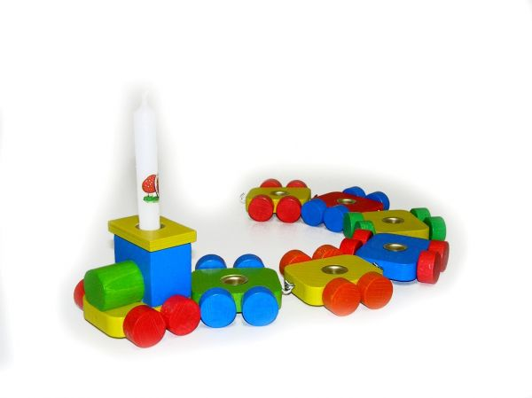 Hess Geburtstagszug mit 6 Hänger aus Holz