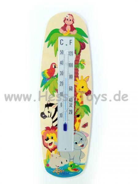 Hess Thermometer Dschungeltiere aus Birkenleimholz