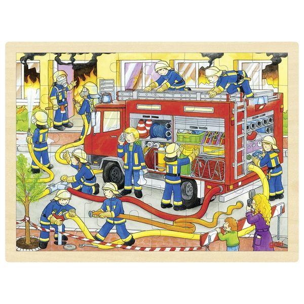 Goki Einlegepuzzle Feuerwehreinsatz aus Holz 48tlg