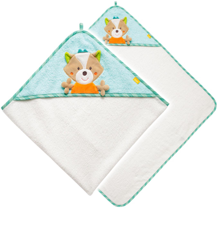 Baby Fehn Sleeping Forest Kapuzentuch Fuchs Türkis-Weiß