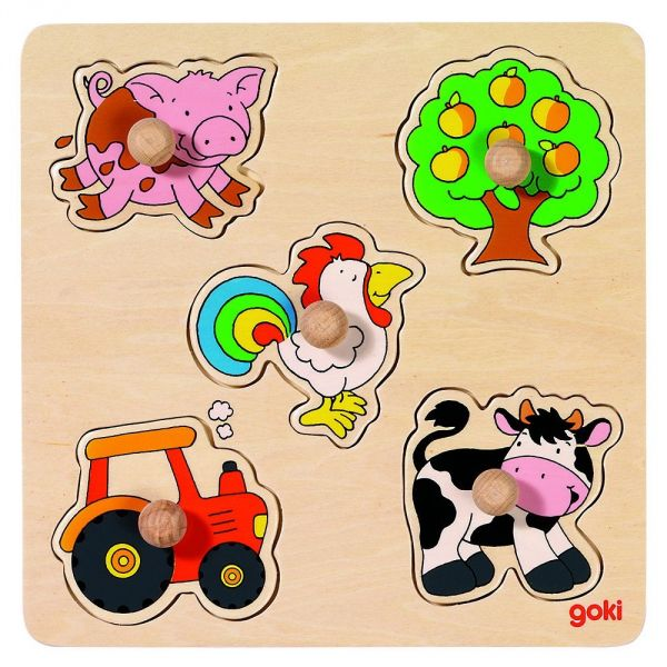 Goki basic Steckpuzzle Land, Teich, Spielsachen, Reise 57545