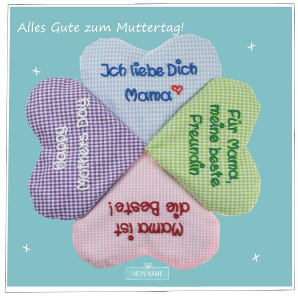 Kleeblatt_Waermeherz_mit_Spruch_kariert_tuerkis