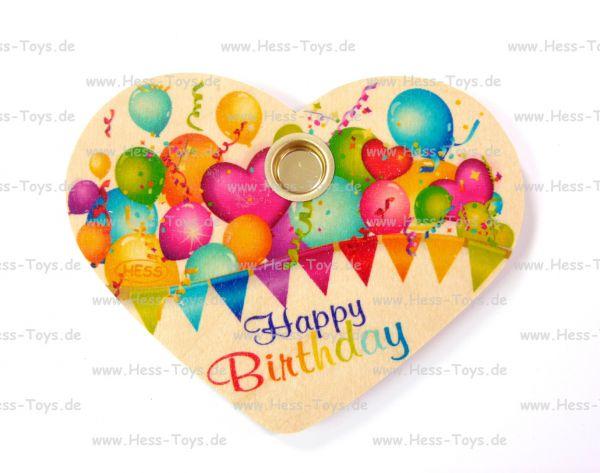 """Hess Geburtstagsherz """"Happy Birthday"""" aus Holz"""