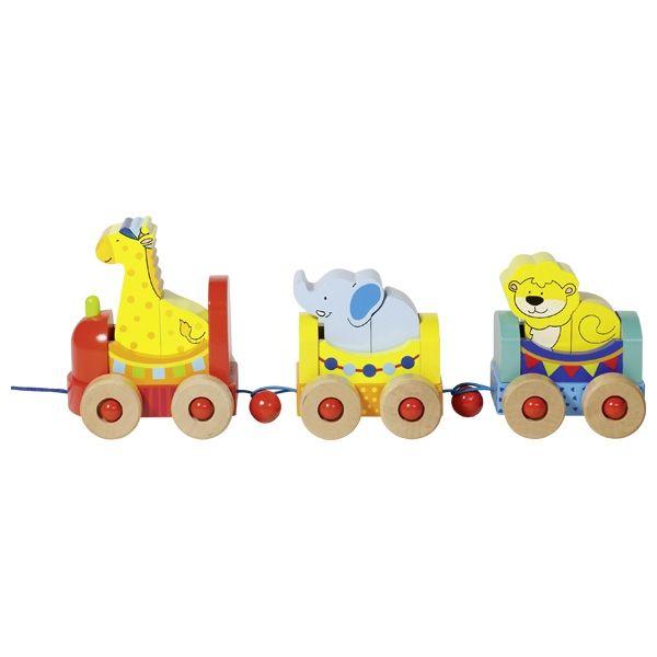 Goki Zug Palermo 9tlg. mit Tieren aus Holz 55955