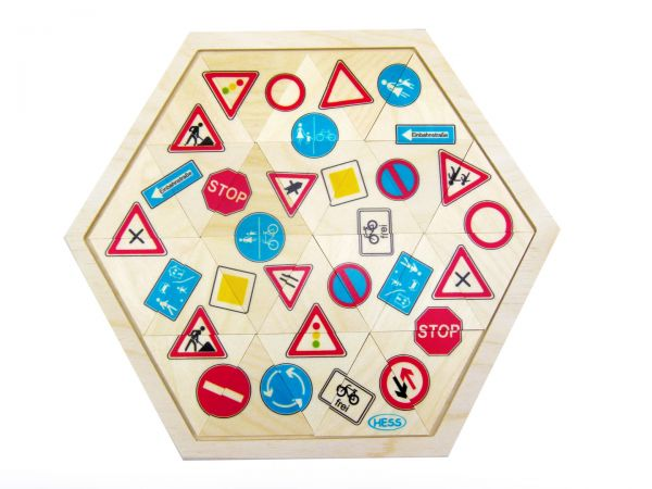 Hess Legespiel Mosaiklegespiel Verkehrsschilder 24 Teile aus Holz