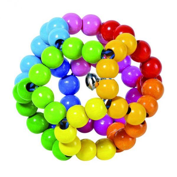 Heimess Greifling Elastik Regenbogenball mit Glöckchen 735670