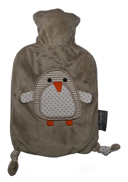 fashy little star Wärmflasche Pinguin braun 0,8l für Kinder