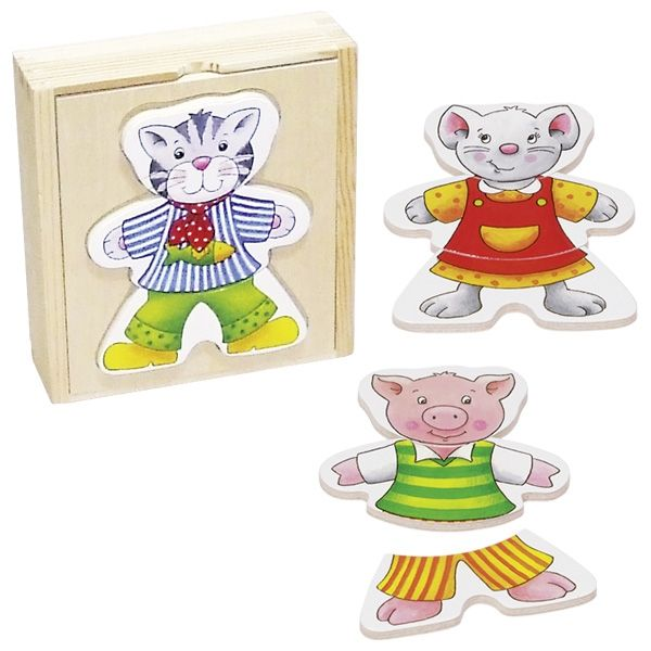 Goki Anziehpuppenpuzzle Lustige Tiere im Holzkasten
