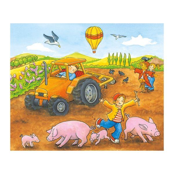 Goki Würfelpuzzle Jahreszeiten auf dem Bauernhof 12tlg. Teile aus Hol