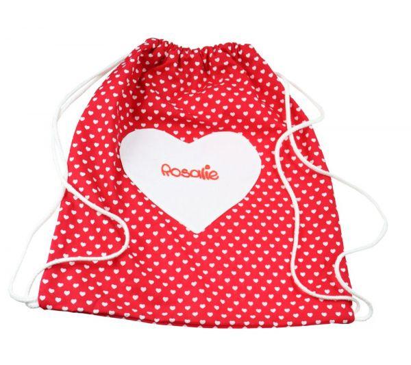 Turnbeutel mit Herz und Namen - Personalisierter Sportbeutel für Kinder