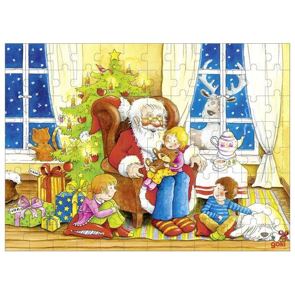 Goki Puzzle Besuch vom Weihnachtsmann 96tlg.