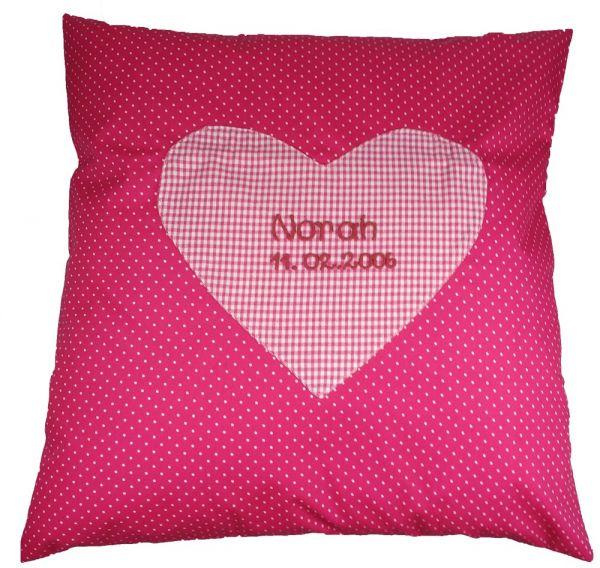 Kissen 40x40cm pink Punkte mit Herz mit Namen