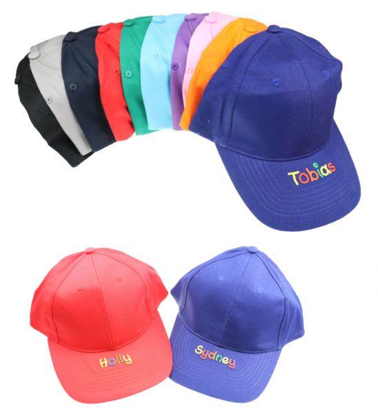 Kinder Baseball Cap Kappe mit Namen in verschiedenen Farben