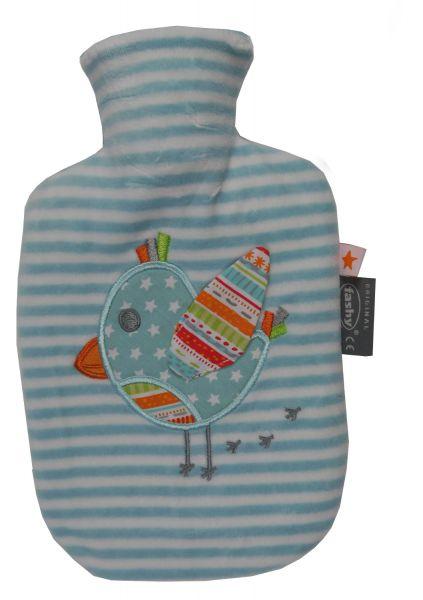 fashy little star Wärmflasche Vogel blau / weiss 0,8l für Kinder